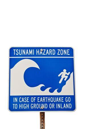 Tsunami hazard sign isolated on a white background