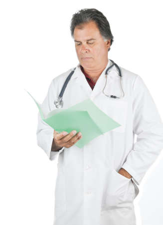 Doctor reading patient Stock Photo