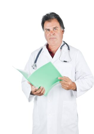 Doctor holding patient file with a stethoscope around his neck Stock Photo