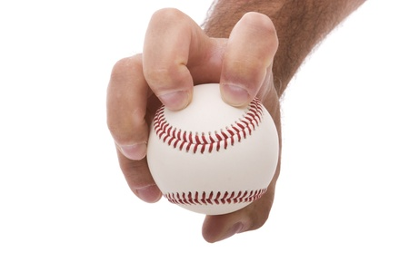 hardball: demonstrating the knuckleball baseball pitching grip Stock Photo