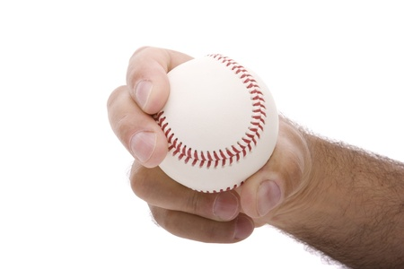 pitching: demonstrating the curveball baseball pitching grip Stock Photo