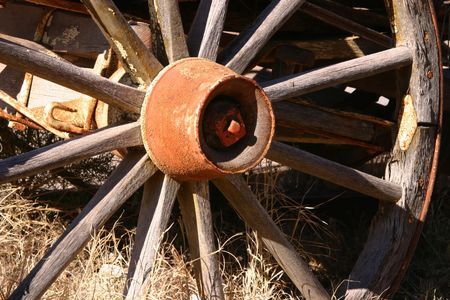 Antique wagon wheel on display in the Wild West town of Tombstone Arizona