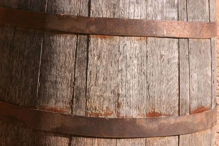 iron hoops: Antique wooden barrel on display in the street in the Wild West town of Tombstone Arizona