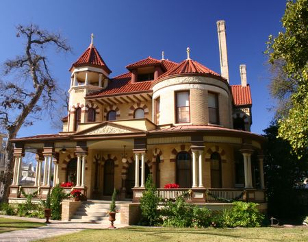 house gable: Victorian house in the King William historic district in San Antonio Texas
