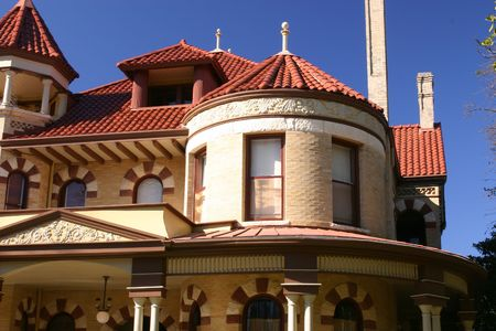 house gable: Detail of Victorian house in the King William historic district in San Antonio Texas