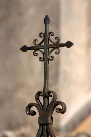 artefact: Wrought iron cross at the Mission Concepcion in San Antonio Texas