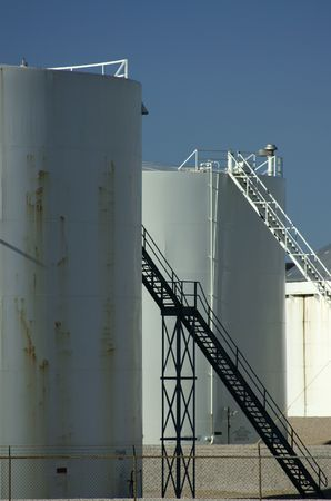 ethanol: Petroleum and ethanol storage tanks at a pipeline terminal in Texas Stock Photo