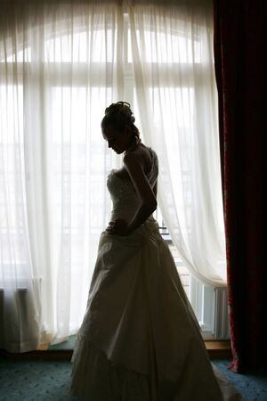 A portrait of a bride in a traditional white wedding dress seen here in silhouete. Stock Photo - 1656363