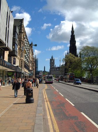 lothian: A general view of a street scene, pictured in the city of Edinburgh in the UK.