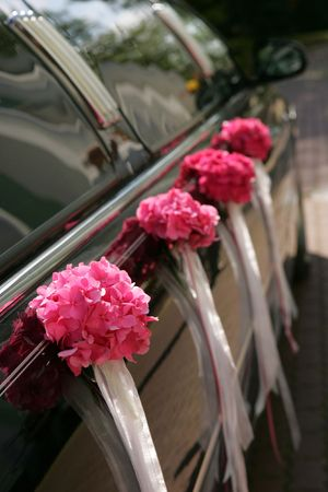 A close up portrait of a traditional wedding car used to carry the bride to church. Here you can see the side of it typically attended by one or more bridesmaids or maids of honor. photo