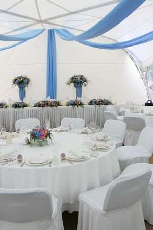 A general view of a room laid out for a wedding reception. Stock Photo - 1772191