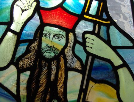 figure of jesus christ in a stained glass window in a church Stock Photo - 1789051