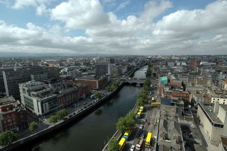 An aerial view of Dublin Citgy in Ireland photo