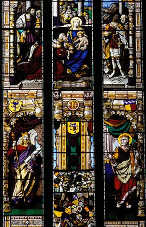 glasswear: A general view of a stained glass window in a church