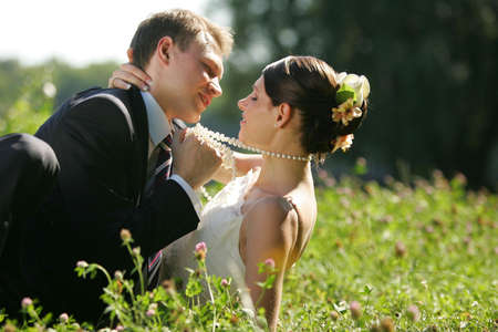 A portrait of a newly married man and woman embracing in a field Stock Photo - 1858586