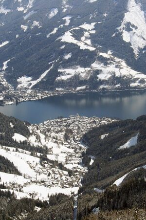 austrian: A general view of the Zell am See Ski resort in Austria. It is seen here from the Schmittenhohe mountain.