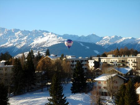 A general view of the ski resort of Crans Montana in the Swiss Alps in Valais in Switzerland. photo