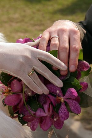 A newly married bride and groom holding hands Stock Photo - 2128308