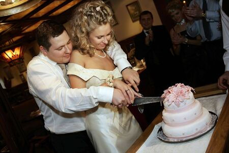 A newly married couple pictured cutting their wedding cake together at their reeption