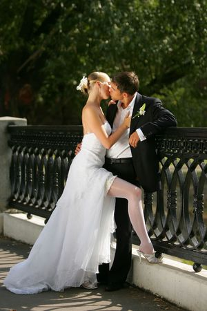 passionate kissing: Portrait of a newly married couple kissing on a bridge