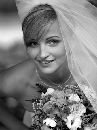 Beautiful bride in black and white portrait with traditional wedding dress and veil. Stock Photo - 2501060