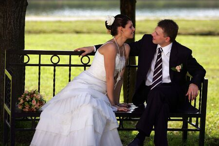 man and woman in love romance park bench Stock Photo - 2558046