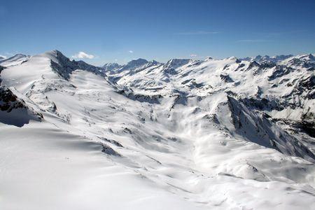 mountainous: Mountainous snowy landscape of Swiss Alps in winter