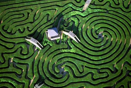 puzzling: Aerial view of Maze in Longleat House, England, U.K. Stock Photo