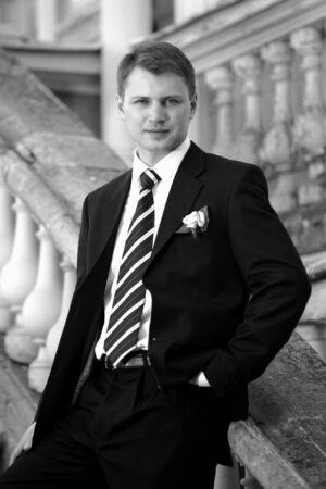 Handsome groom on wedding day portrait Stock Photo - 2678574