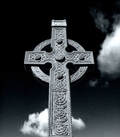 irish countryside: Black and white portait of a historic Celtic Cross.