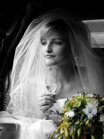 Portrait of beautiful bride in traditional wedding dress and veil. Stock Photo