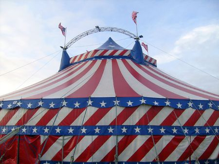 big top: Circus big top tent decorated with stars and stripes.