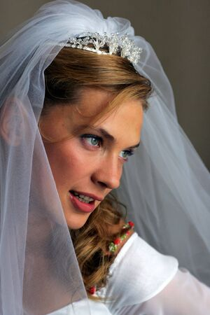 Portrait of beautiful bride in traditional white wedding dress smiling. Stock Photo - 3546502