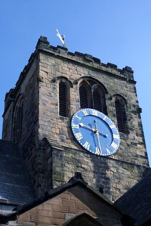 Close up of quaint church tower and clock, England. Stock Photo - 3583029