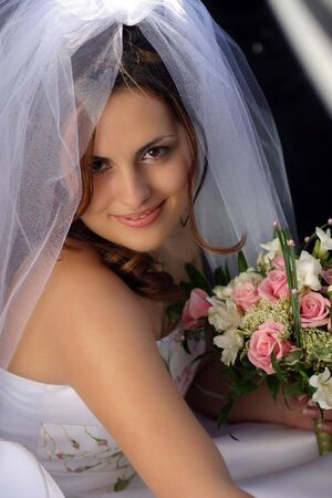 look pleased: Smiling beautiful bride in traditional white weddiing dress