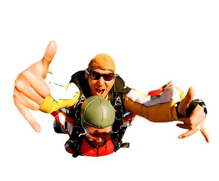 Tandem skydiver in action parachuting