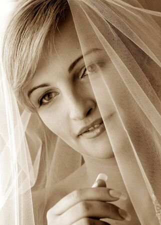 Portrait of beautiful bride in traditional wedding Stock Photo - 3703655