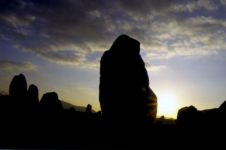 Stone circle seen at sunset in Orkney Islands, Scotland. photo