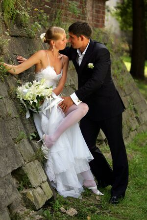 Happy newlywed couple looking loving at each other. Stock Photo - 3997958