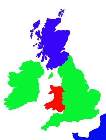 Colorful map showing coastline of United Kingdom of Great Britain, Ireland and northen France. photo
