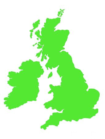 british isles: Green map showing coastline of United Kingdom of Great Britain and Ireland.