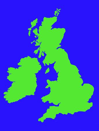 Colorful map showing coastline of United Kingdom of Great Britain and Ireland with blue sea.