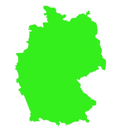 Outline map of Federal Republic of Germany in green isolated on white background. photo