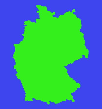 graphical: Outline map of Federal Republic of Germany in green isolated on white background.