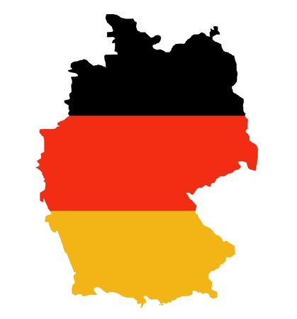 Outline map of Federal Republic of Germany in colors of flag, isolated on white background.