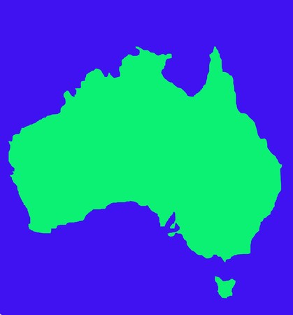 tasmania: Outline map of Australia and Tasmania in green, isolated on blue background.