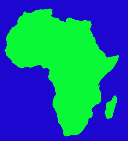 2d map: Outline map of Africa continent in green, isolated on blue background.