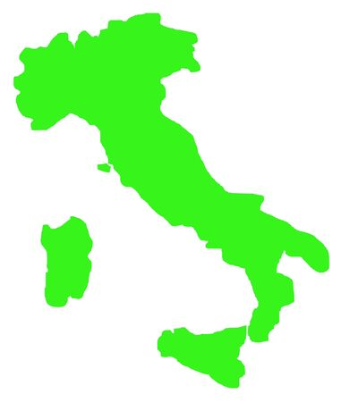 Outline map of Italy in green, isolated on white background. photo