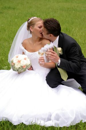 Newlywed couple kissing and toasting each other with drink, countryside scene. photo
