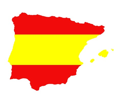 majorca: Outline map of Spain and Balearic islands isolated in colors of flag.